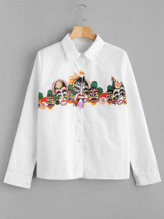 Snap Button Printed Casual Shirt - White