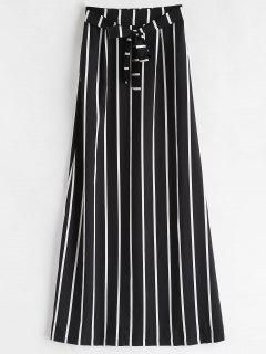 Tie Striped Maxi Skirt - Black L