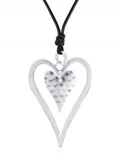Hollow Out Heart Design Pendant Necklace - Silver