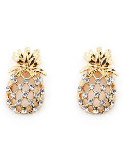 Sparkling Rhinestone Pineapple Alloy Earrings - Gold