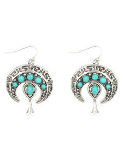 Bohemian Faux Turquoise Inlaid Drop Earrings - Silver
