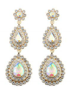 Pendientes Florales De Gota De Agua De Diamantes De Imitación - Oro