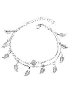 Double Layer Metal Leaf Ankle Bracelet - Silver
