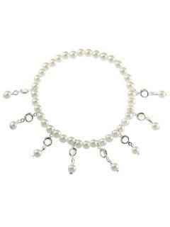 Pulsera De Tobillo Vintage Faux Pearl Foot Jewelry - Plata