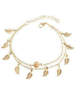 Double Layer Metal Leaf Ankle Bracelet - Gold