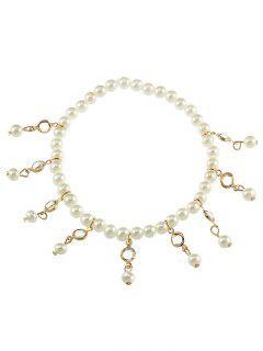 Pulsera De Tobillo Vintage Faux Pearl Foot Jewelry - Oro