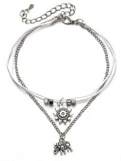 Multilayers Metal Elephant Ankle Bracelet - Silver