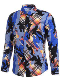 Plaid Camo Print Covered Button Shirt - Multi S
