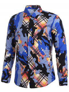 Plaid Camo Print Covered Button Shirt - Multi M