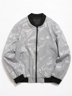 Simple Zipper Placket Baseball Jacket - Light Gray S