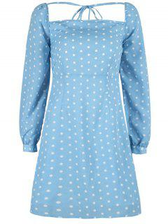 Square Polka Dot Mini Dress - Day Sky Blue L