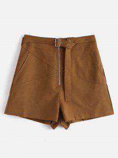 Zip High Waist Shorts With Belt - Brown M
