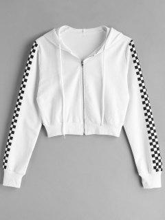 Zip Up Checkerboard Sleeve Cropped Hoodie - Multi L