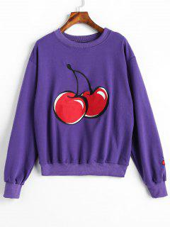 Crewneck Cherry Embroidered Pullover Sweatshirt - Purple Iris