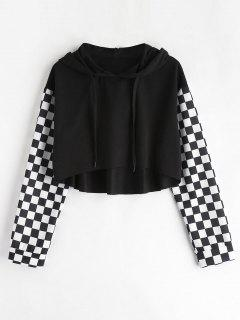 Checkered Cropped Hoodie - Black S