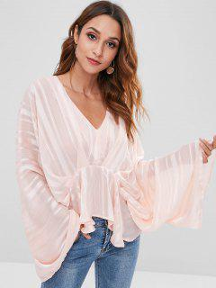Batwing Sleeve Striped Peplum Blouse - Pig Pink Xl