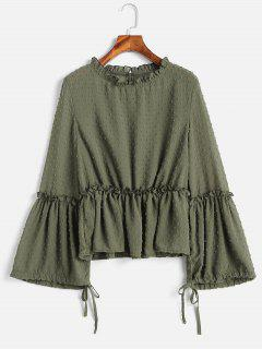 Mesh Flare Sleeve Flounce Blouse - Army Green L