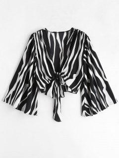 Camisa De Manga Corta Con Lazo Zebra Pirnt De Bell Sleeve - Multicolor L