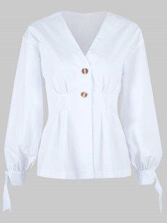 Verknotete Bluse Mit Knöpfen - Weiß L