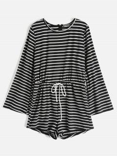 Drawstring Striped Bell Long Sleeve Romper - Black S