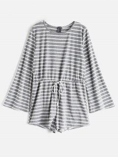 Drawstring Striped Bell Long Sleeve Romper - Gray S