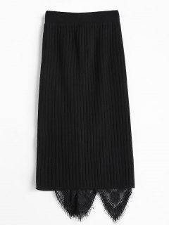Lace Panel Knitted Pencil Skirt - Black