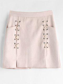 Faux Suede Criss Cross Mini Skirt - Pink Bubblegum L