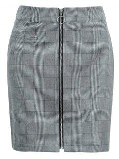 Zip Up Plaid Mini Skirt - Black L