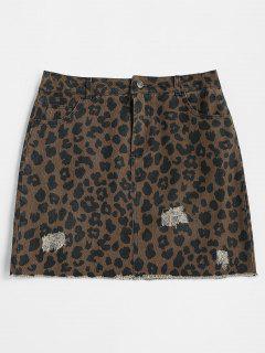 Ripped Leopard Mini Skirt - Leopard M