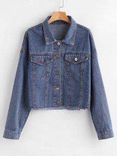 Drop Shoulder Short Jean Shirt Jacket - Denim Blue M