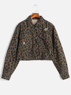 Button Up Ripped Leopard Jacket - Leopard M