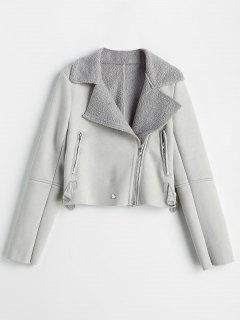 Asymmetrical Zipper Faux Suede Jacket - Light Gray M