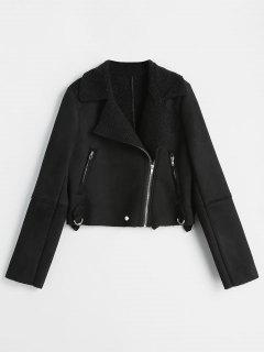 Asymmetrical Zipper Faux Suede Jacket - Black S
