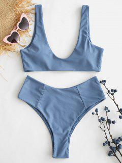 ZAFUL High Waisted Scoop Bikini Set - Blue Gray L