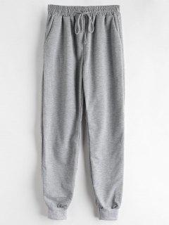 Marled Drawstring Sports Pants - Gray Cloud L