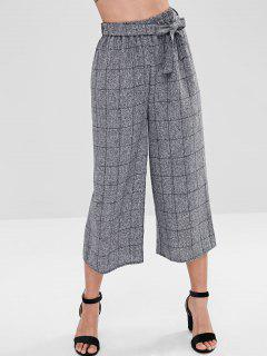 Grid Gaucho Pants - Gray