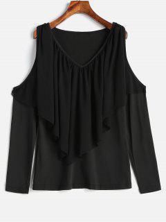 Cold Shoulder Overlay T-shirt - Black L