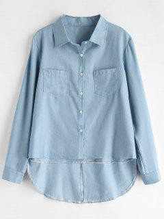 Chambray High Low Shirt - Sea Blue M