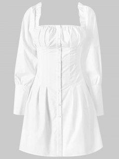 Square Button Up Mini Dress - White L