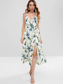 Pineapple Print High Split Surplice Dress - White M