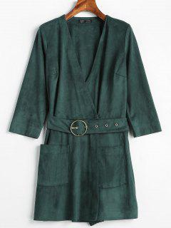 Plunging Surplice Pocket Belted Romper - Dark Green Xl