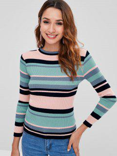 Multicolor Striped Bodycon Sweater - Multi S