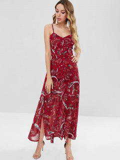 Open Back Paisley Split Maxi Dress - Red Xl