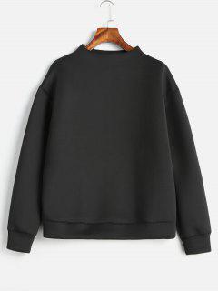 Plain Mock Neck Sweatshirt - Black M