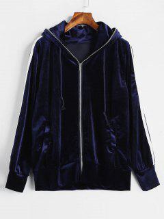 Contrast Striped Velvet Hoodie - Deep Blue M
