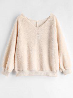 Raglan Sleeve Fluffy Sweatshirt - Apricot M