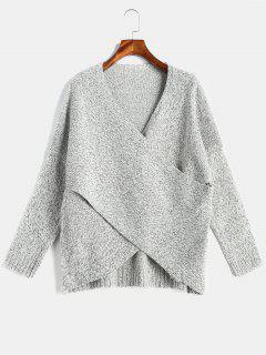 Surplice Heather Drop Shoulder Sweater - Gray L