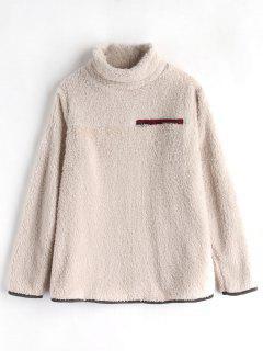 Mock Neck Fluffy Tunic Sweatshirt - Apricot M