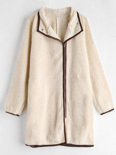 Zip Up Straight Fluffy Coat - Apricot S