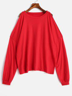 Open Shoulder Drop Shoulder T-shirt - Red